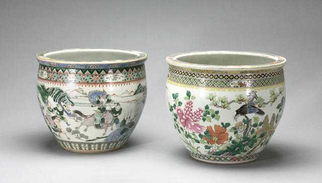 Two polychrome enameled porcelain jardinières  Late Qing/Republic period