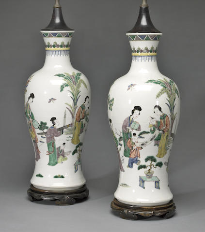 A pair of famille verte enameled porcelain baluster vases 20th century
