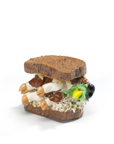 David James Gilhooly (born 1943) Corned Beef on Rye, 1983 4 x 5 1/2 x 5in (10.2 x 14 x 12.7cm)