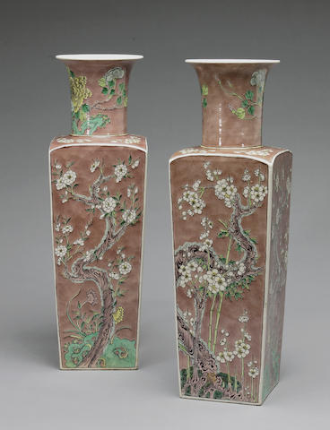 A pair of aubergine ground and famile verte enemameled porcelain vases, Kangxi mark/19th century