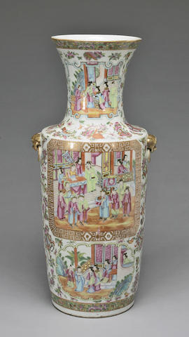 A famille rose enameled export porcelain vase 19th century