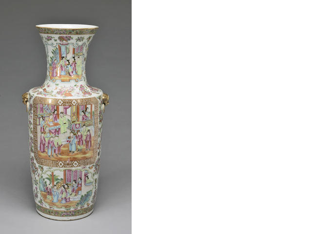 Famille rose enameled export porcelain baluster vase