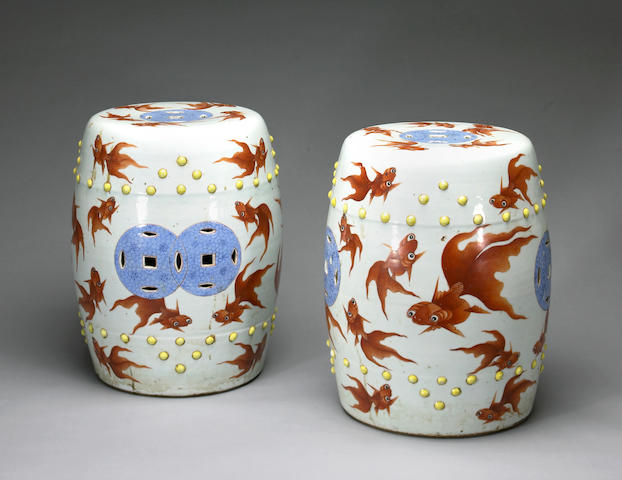 A pair of polychrome enameled porcelain garden seats Late Qing/Republic period