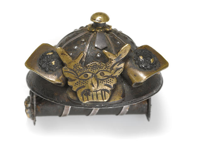 A mixed metal combination netsuke-yatate