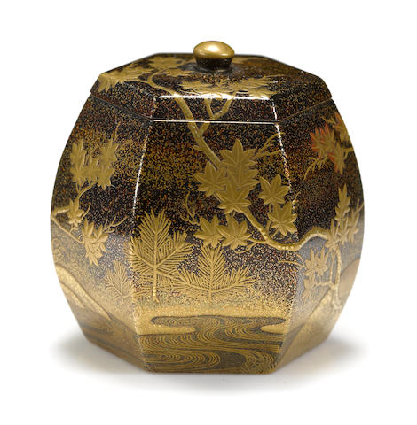 A gilt and black lacquer incense container (kogo) Meiji period