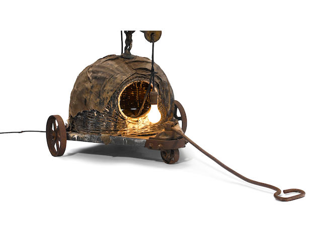 Edward Kienholz (1927-1994) Sleepy's Hollow with Handle and Wheels, 1962 28 1/2 x 27 1/4 x 58in (72.4 x 69.2 x 147.3cm)