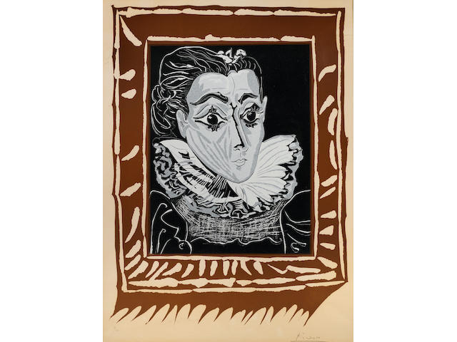 Pablo Picasso (Spanish, 1881-1973); Lady with a Ruff 1963 (B. 1147) color linocut;