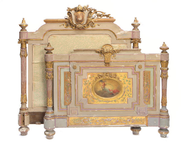 A Napoleon III paint decorated and parcel gilt bed