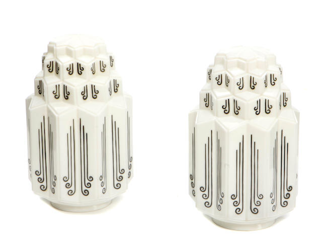 A pair of Art Deco style milk glass lanterns