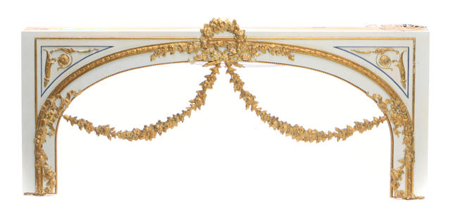 A pair of Louis XVI style parcel gilt paint decorated valances