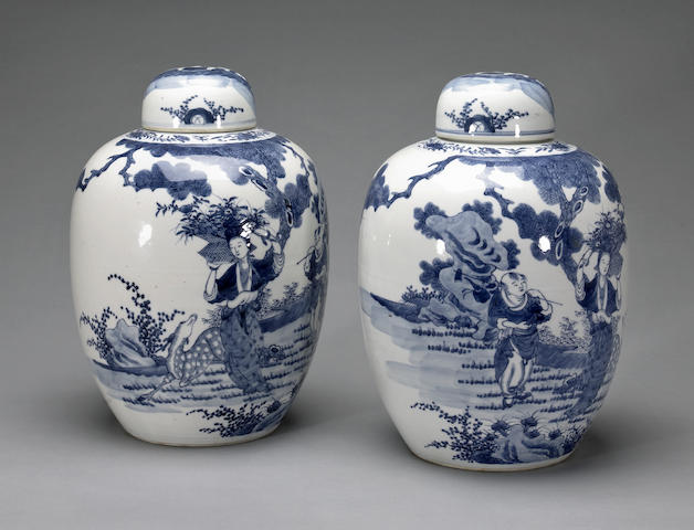 A pair of blue and white porcelain lidded jars 19th century