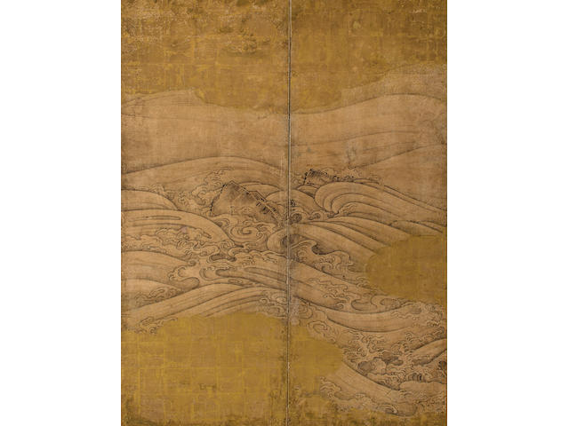 Anonymous, Hasegawa school (17th century) Rocks and Waves