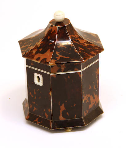 A George III style octagonal metal strung tortoiseshell tea caddy  20th century