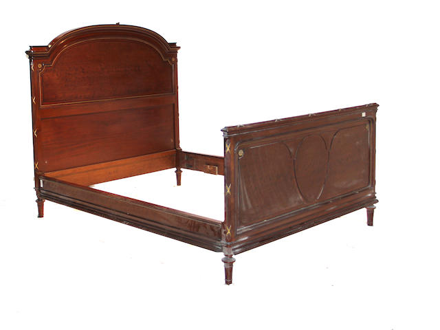 A Louis XVI style mahogany and gilt bronze mounted bed late 19th century