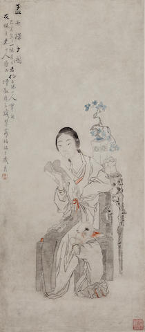 Qian Hui'An (1833-1911) Mother and Child, 1875