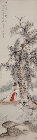 Ni Tian (1855-1919)  Landscape with Figure After Hua Yan