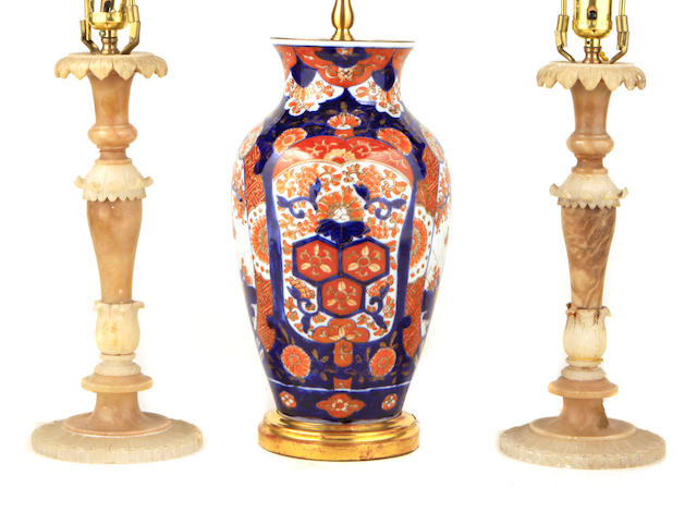 A blue Chinese vase mounted as a table lamp
