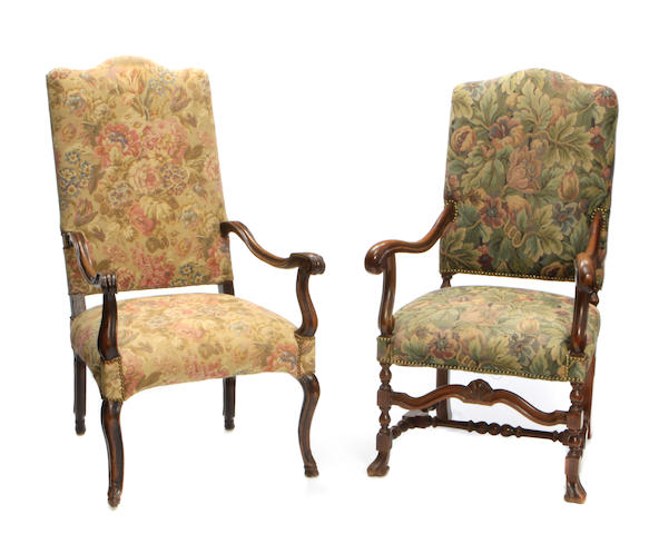 Two French Baroque style walnut armchairs