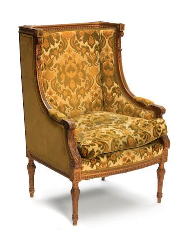 A Louis XVI style giltwood bergère