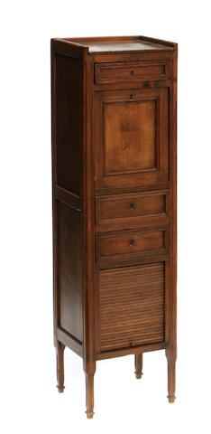 A Louis XVI style oak fall front secrétaire à abattant