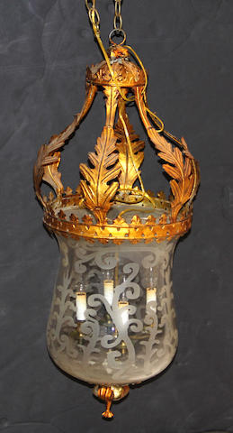 A Rococo style gilt tôle and etched glass lantern 20th century