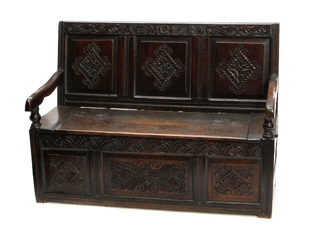 An English carved oak hall bench