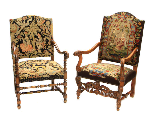 Two Continental Baroque style carved walnut armchairs