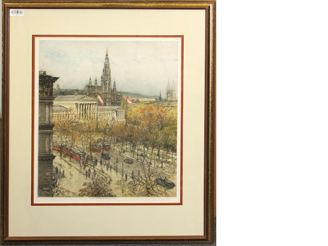 A framed colored etching of Vienna Luigi Kasimir (Austria, 1881-1962)