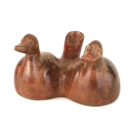 A Colima double duck vessel height 7in; width 10in; depth 9 1/2in
