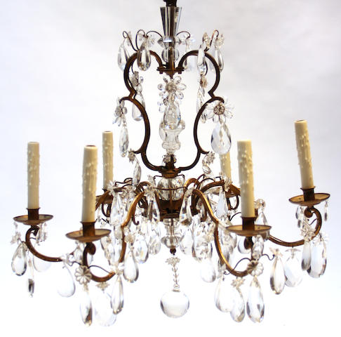 A gilt bonze six light chandelier