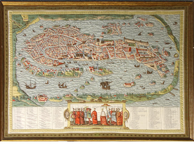 A framed Renaissance style printed silk and metallic thread overstiched map of Venice