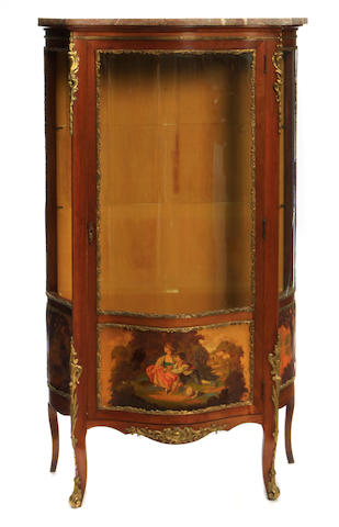 A Louis XV style gilt bronze mounted Vernis Martin decorated vitrine