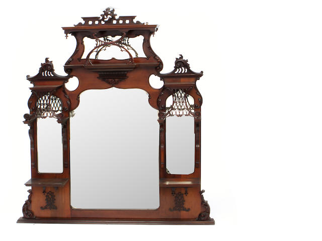 A Victorian mahogany overmantle mirror