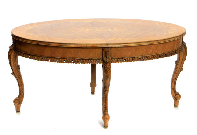 Two Continental marquetry inlaid side occasional tables