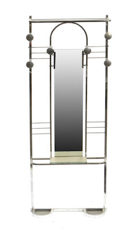 An Art Deco aluminum and mirrored hall tree