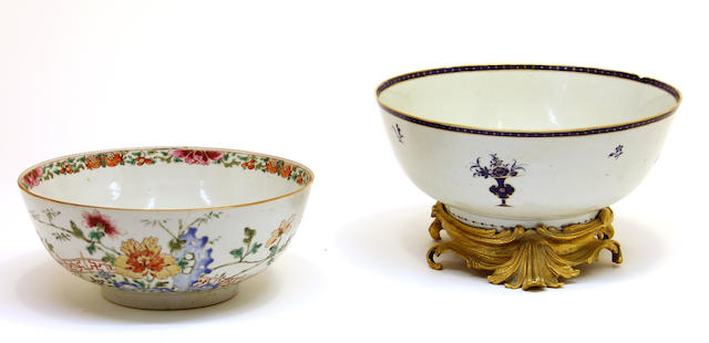 Two Chinese export porcelain punch bowls, one with seperate gilt bronze stand early 19th century