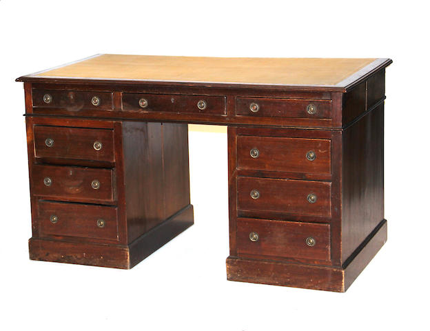 A Victorian mahogany kneehole desk second half 19th century