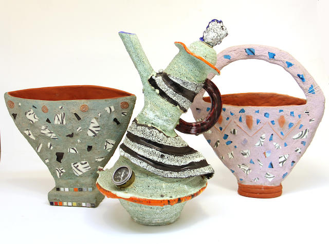 Three pieces of contemporary art pottery, eight pieces of various glassware and two sterling silver bottle labels
