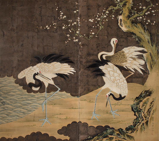 Hosui (1815-1865)<BR />Cranes in a Landscape