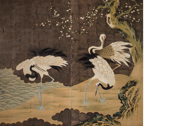 Hosui (1815-1865)<BR />Cranes in a Landscape