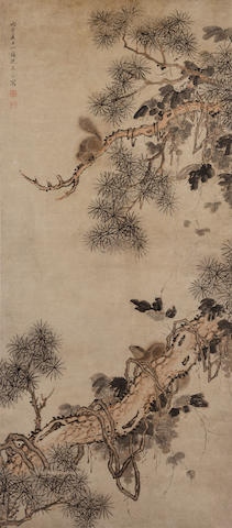 Shen Yongling (active late 17th Century)  Squirrel on Pine Branch, 1696