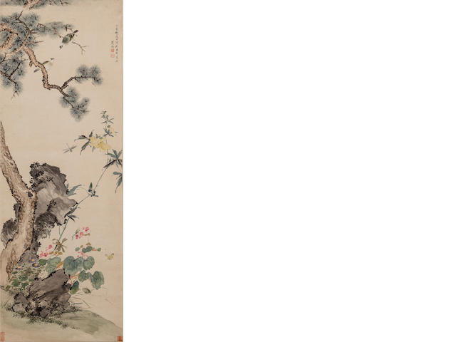 Weng Luo (1790-1849) Bulbuls on Pine Tree with Rocks and Flowers, 1837