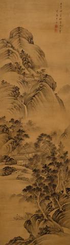 Gan Jing (18th century) Landscape after Dong Qichang, 1762