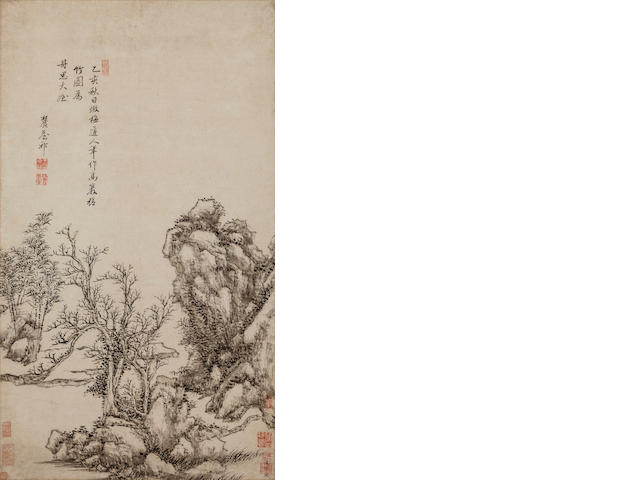 Wang Yuanqi (1642 - 1715) Tall Rock and Knotted Bamboo after Wu Zhen 1695