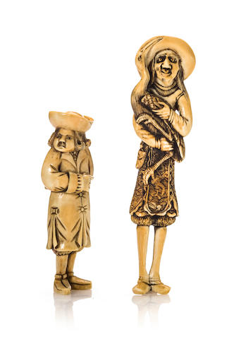 Two ivory figures of standing Dutchmen Edo period (late 18th-19th century)