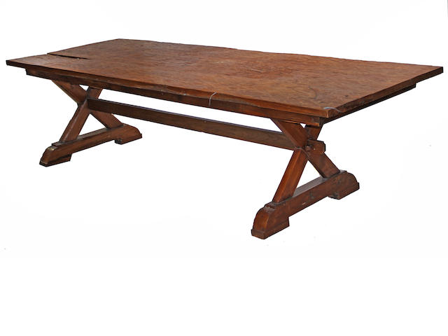 A Baroque style walnut refrectory table