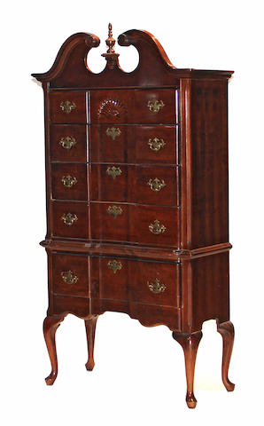 A Federal style mahogany highboy