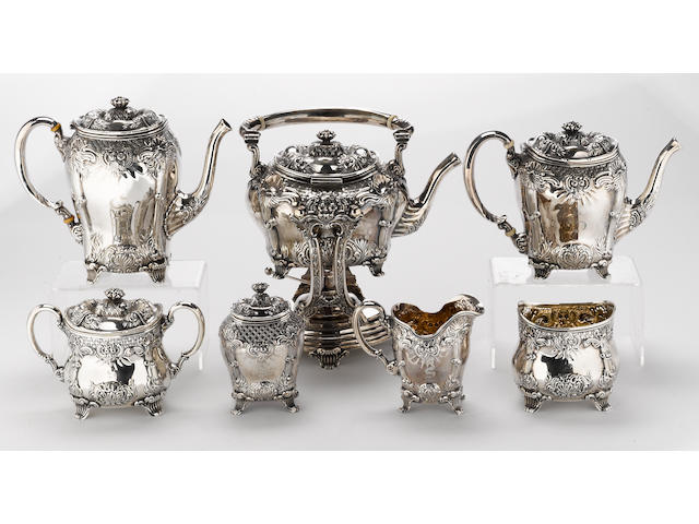 A sterling seven piece tea and coffee set by Towle Silversmiths, Newburyport, MA <BR /># 1492, monogrammed: S  (7)