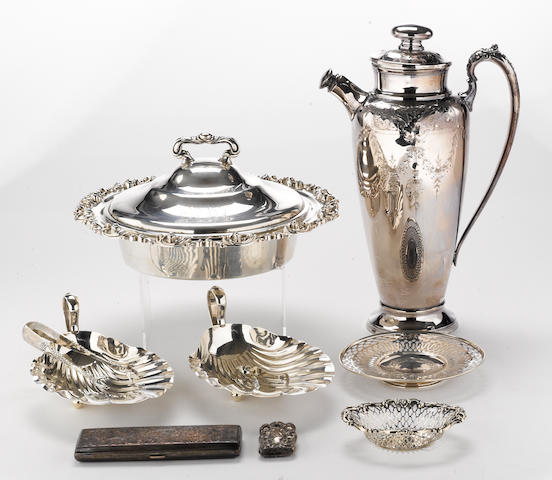 A sterling group of assorted table articles, flatware, etc., with a plated cocktail shaker