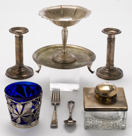 A silver and silver mounted group of table and desk items  (8)